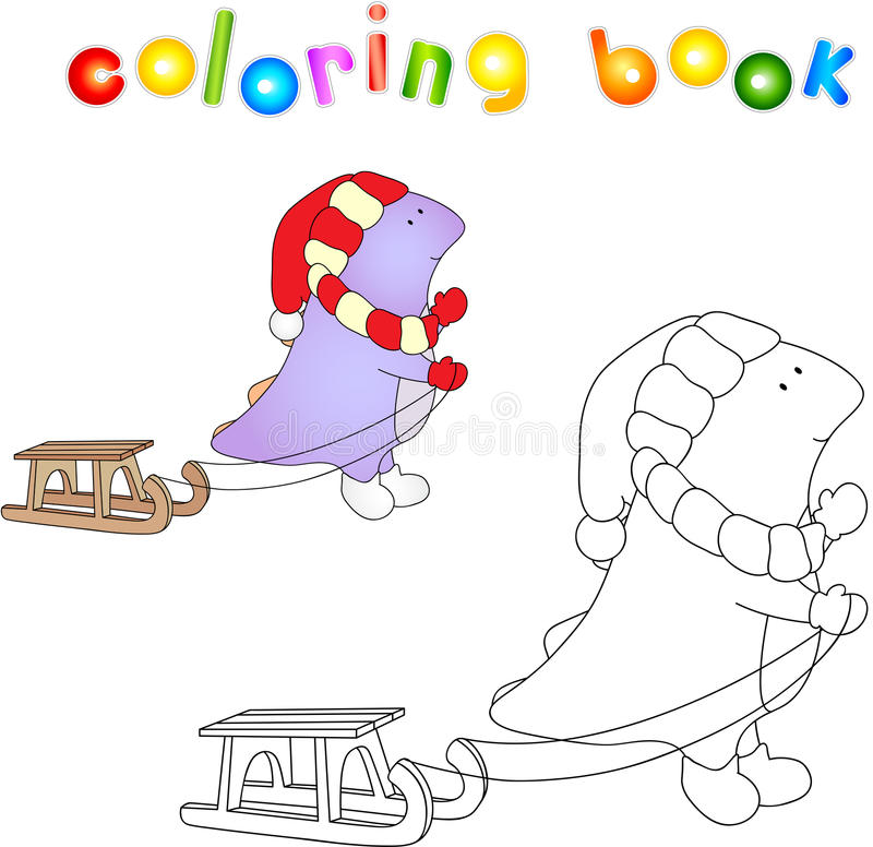 Netter purpurroter Drache im roten Hut mit Schlitten Auch im corel abgehobenen Betrag stock abbildung