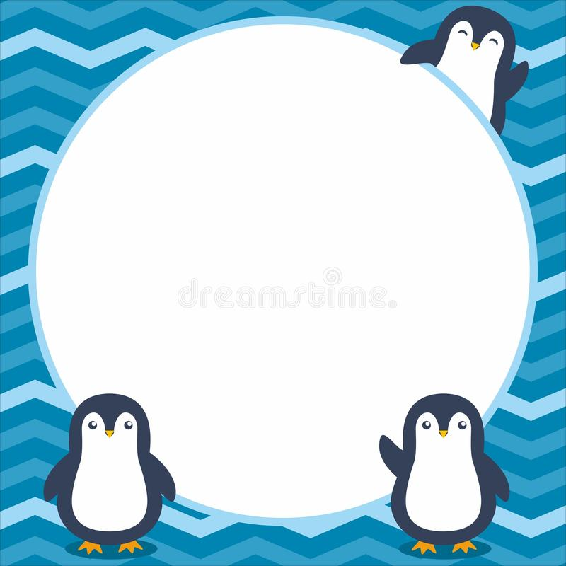 Netter Rahmen/Grenze mit entzückendem Pinguin-Vektor vektor abbildung