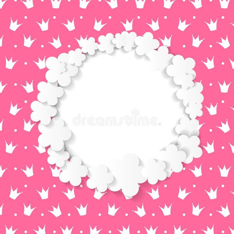 Netter Rahmen mit Papierblumen-Vektor-Illustration stock abbildung