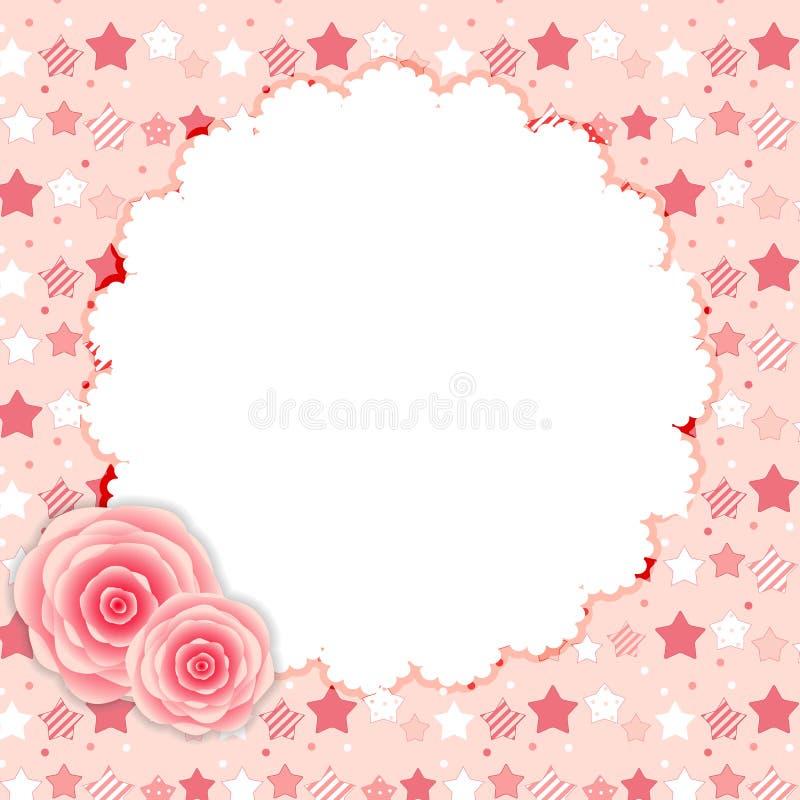 Netter Rahmen mit Rose Flowers Vector Illustration stock abbildung