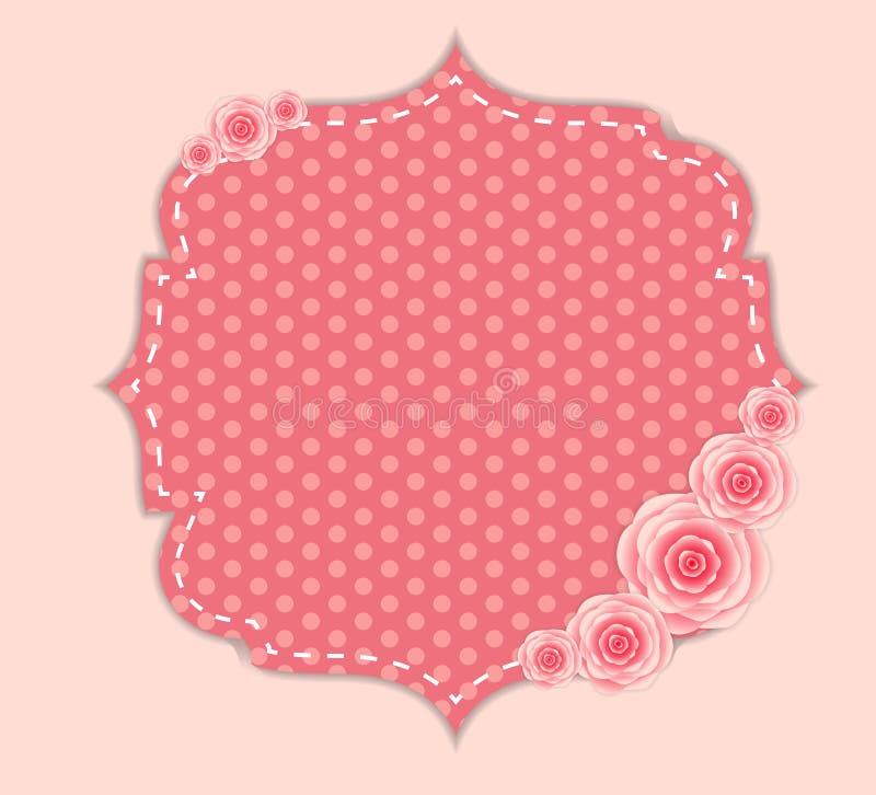 Netter Rahmen mit Rose Flowers Vector Illustration lizenzfreie abbildung