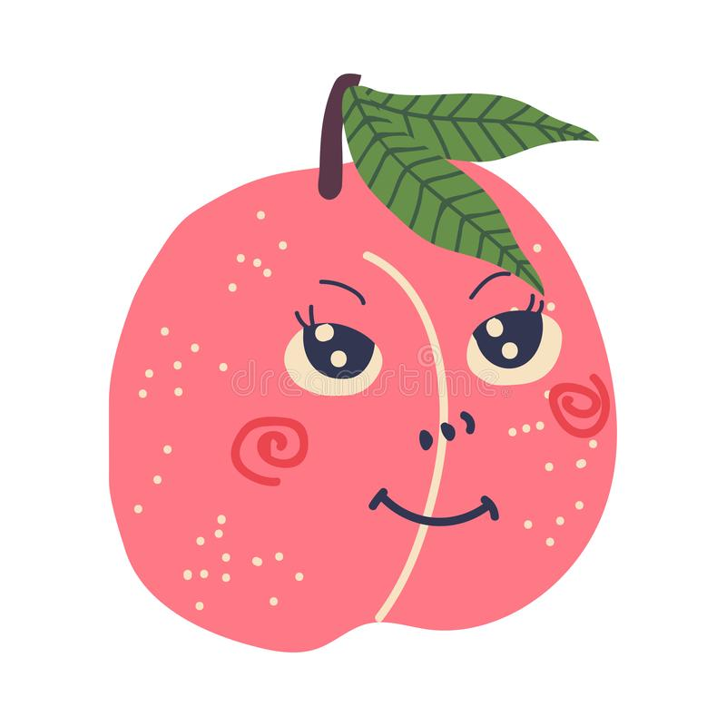 Netter reifer Pfirsich mit lächelndem Gesicht, süße entzückende lustige Frucht-Zeichentrickfilm-Figur-Vektor-Illustration lizenzfreie abbildung