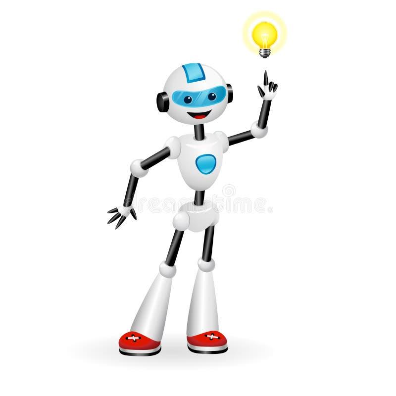Netter Roboter, der auf gute IdeenGlühlampe zeigt Aha-Momentkonzept Getrennt auf weißem Hintergrund lizenzfreie abbildung
