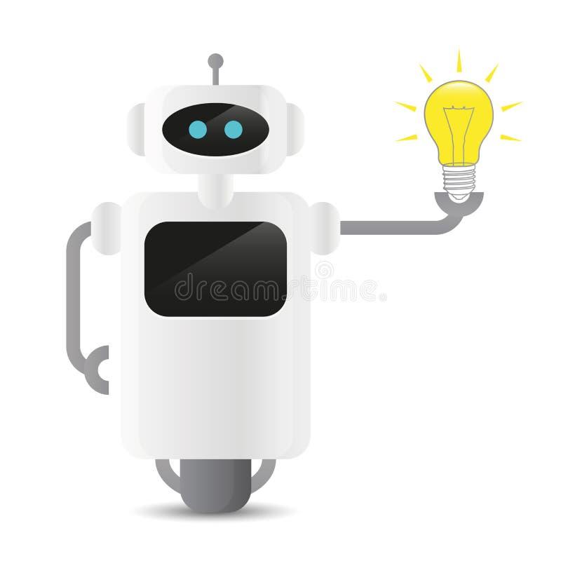 Netter Roboter, der ein Glühlampetechnologie idee Konzept hält vektor abbildung