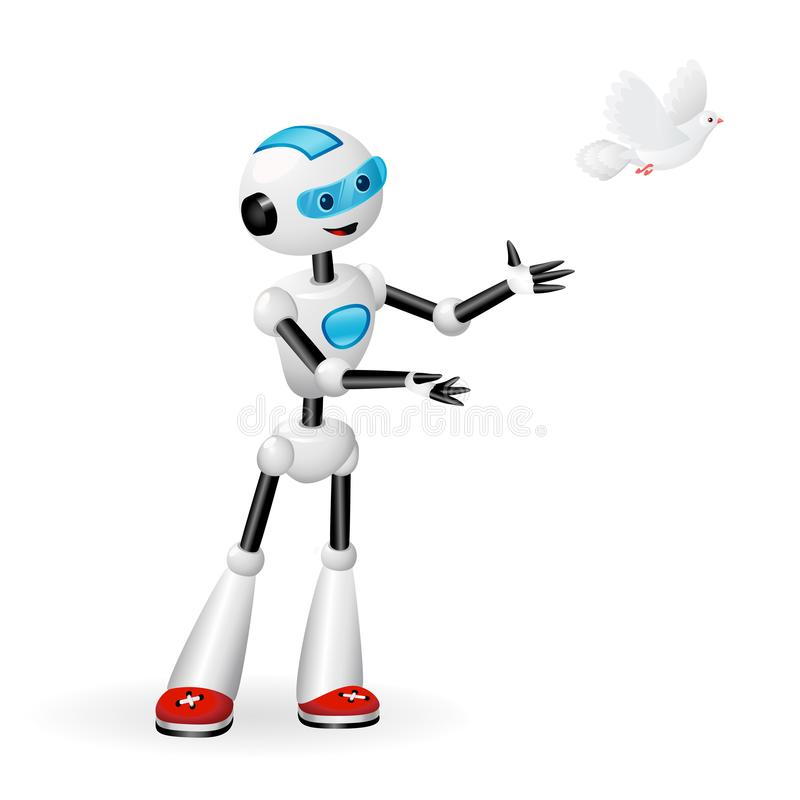 Netter Roboter, der eine Taube für Freiheitskonzept lokalisiert auf weißem Hintergrund freigibt vektor abbildung
