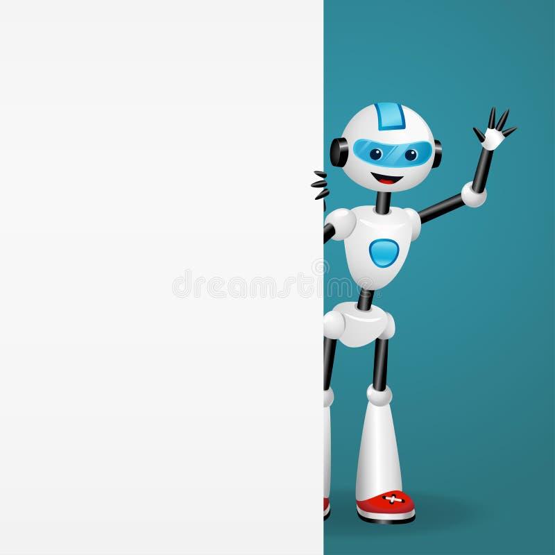 Netter Roboter, der heraus von hinten ein leeres weißes Brett schaut und Hand aufgibt lizenzfreie abbildung