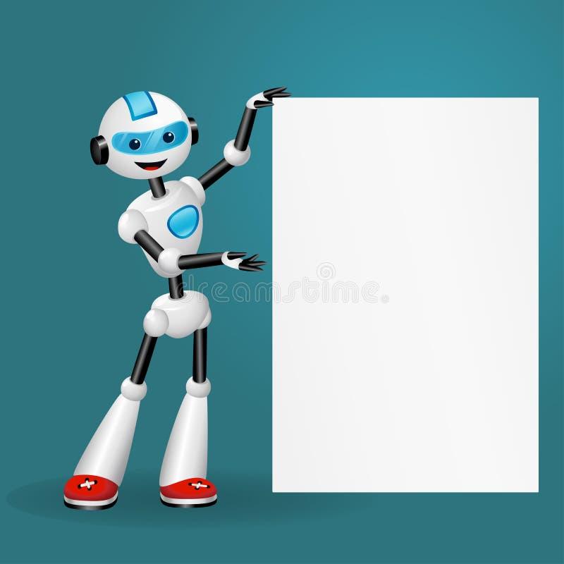 Netter Roboter, der leeres weißes Plakat für Text auf blauem Hintergrund hält lizenzfreie abbildung