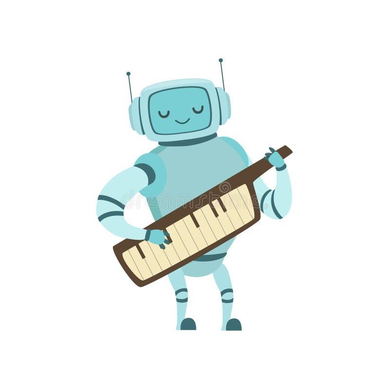 Netter Roboter-Musiker Playing auf Musikinstrument-Vektor-Illustration Keytar lizenzfreie abbildung