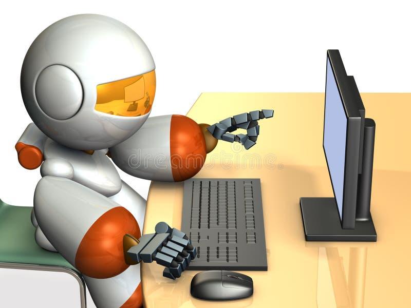 Netter Roboter zeigt die Anzeige vom Personal-Computer vektor abbildung