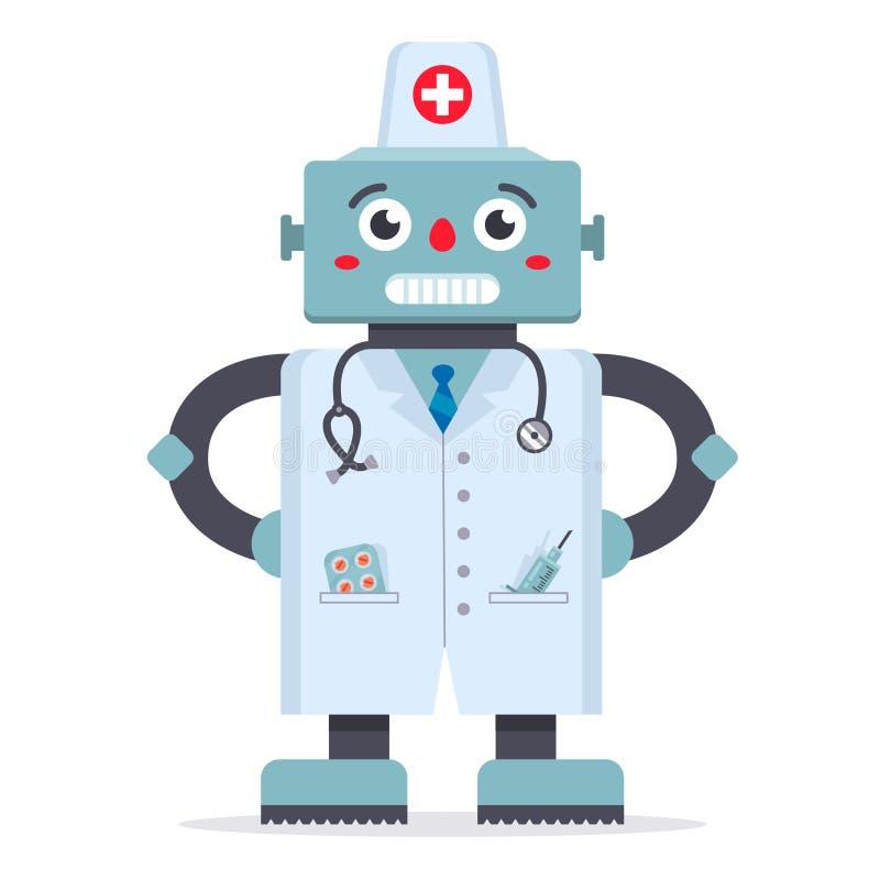 Netter Roboterdoktor in einem wei?en Mantel ein Spiel von Medizin Technologien der Zukunft Krankenhausbehandlung vektor abbildung