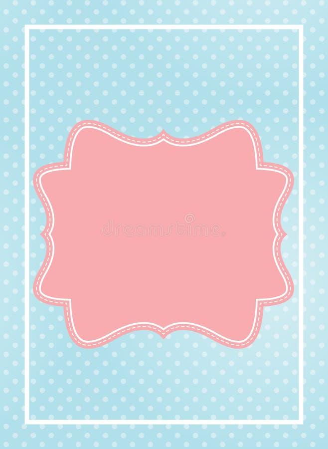 Netter rosa Rahmen in Blau punktierter Hintergrund-Vektor-Illustration lizenzfreie abbildung