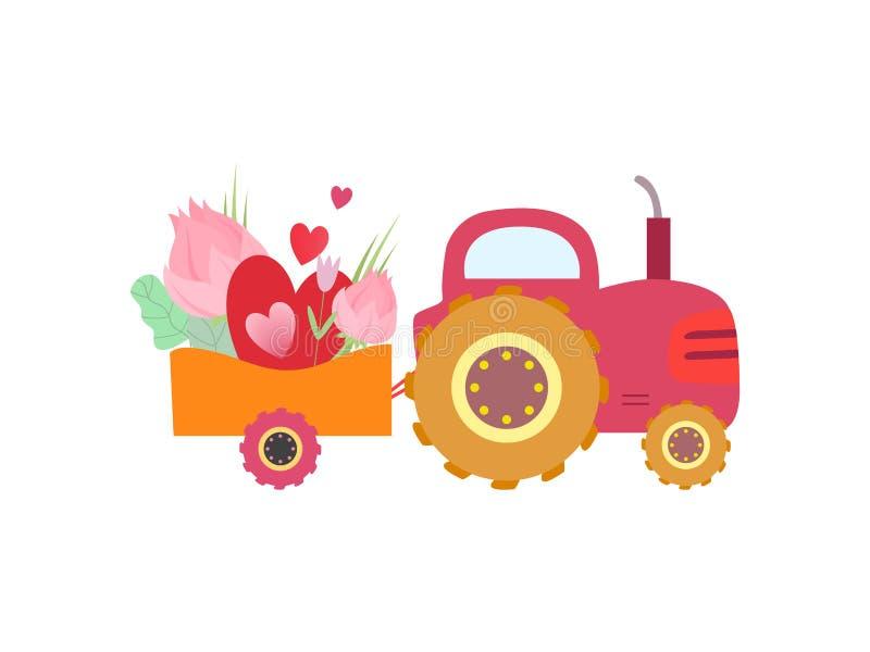 Netter rosa Traktor mit Wagen mit Blumen und Herz-Vektor-Illustration stock abbildung