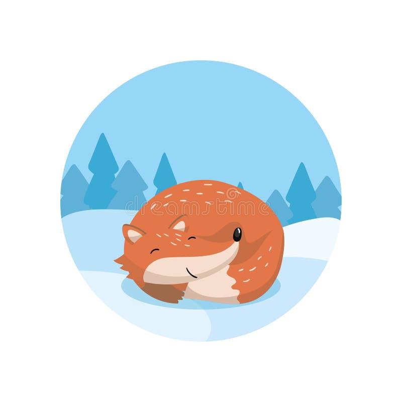 Netter roter Fuchs, der auf dem Hintergrund von Winterlandschaftsvektor Illustration, Karikaturart liegt lizenzfreie abbildung