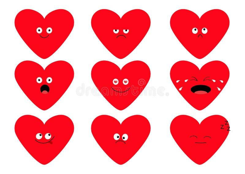 Netter roter Herzform emoji Satz Lustige kawaii Zeichentrickfilm-Figuren Gefühlsammlung Glücklich, überrascht, lächelnd und schre vektor abbildung