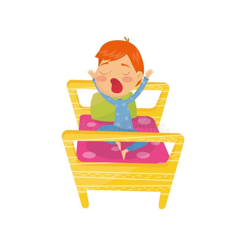Netter rothaariger im Bett aufwachender und gähnender Junge Tägliches Programm des Kindes Zeichentrickfilm-Figur des lustigen Kle vektor abbildung