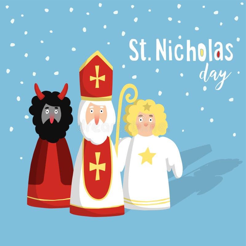 Netter Sankt Nikolaus mit Teufel, Engel, Weihnachtseinladung, Karte Flaches Design, Illustration, Winterhintergrund lizenzfreie abbildung