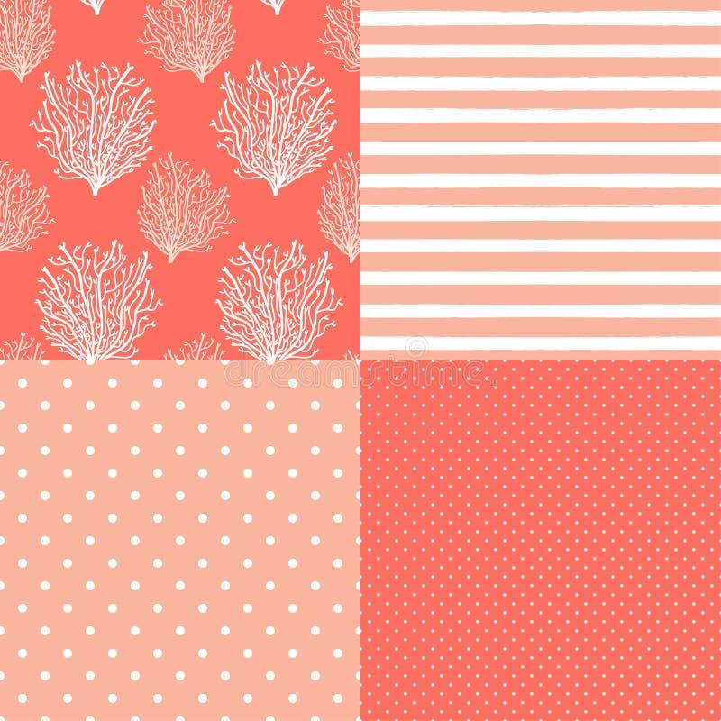 Netter Satz abstrakte nahtlose Muster in den modischen lebenden korallenroten 2019 Farben lizenzfreie abbildung