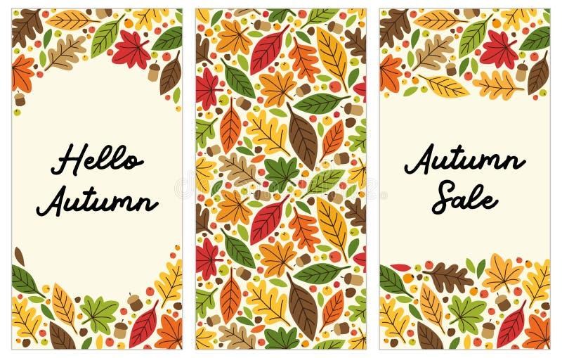 Netter Satz Autumn Leaves-Vertikalenfahnen stock abbildung