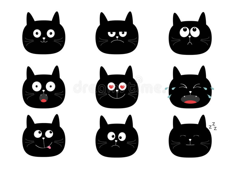 Netter Satz der schwarzen Katze Monsterzeichen in der Stadt Gefühlsammlung Glücklich, überrascht, schreiend, traurig, verärgert u stock abbildung