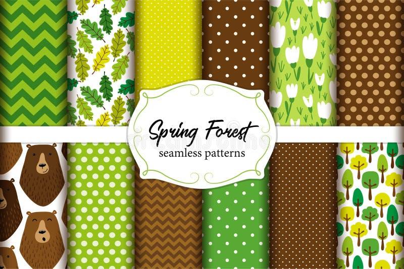 Netter Satz Frühlings-Waldnahtlose Muster mit Bären, Blätter, Florenelemente, verzweigt sich usw. lizenzfreie abbildung