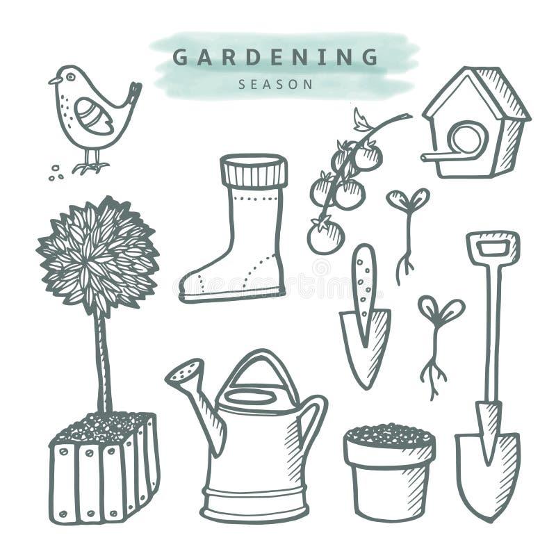 Netter Satz Gartenarbeitgekritzelskizzen, lokalisiert stock abbildung