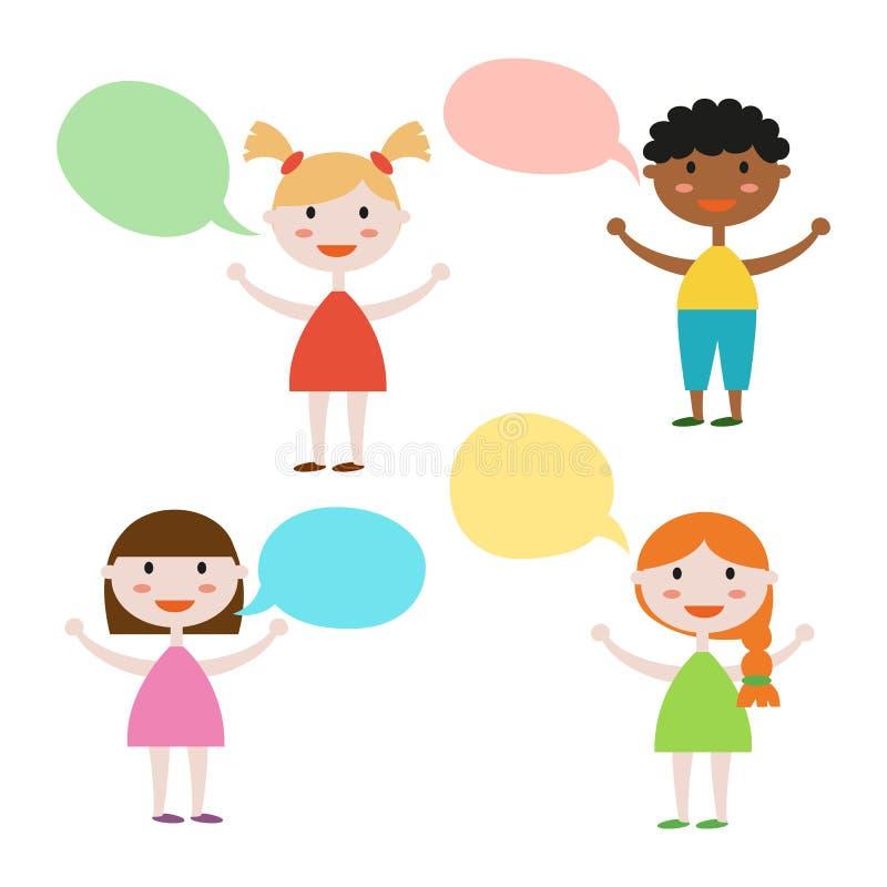 Netter Satz Kinder mit Rede sprudelt auf weißem Hintergrund stock abbildung