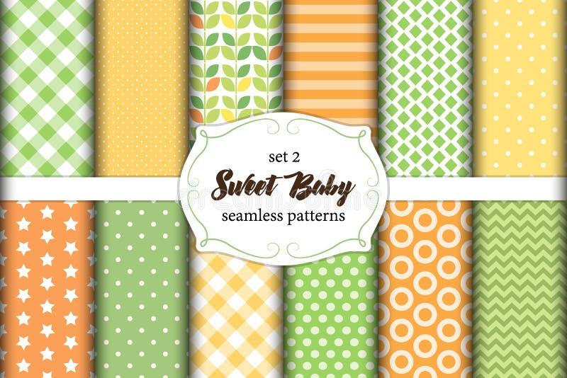 Netter Satz nahtlose Muster des skandinavischen süßen Babys mit Gewebebeschaffenheiten lizenzfreie abbildung
