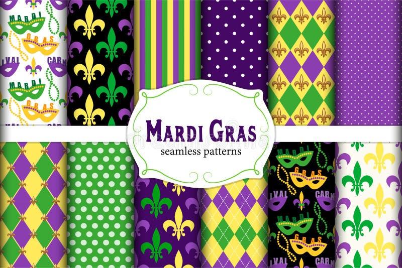 Netter Satz von 12 nahtlosen Mardi Gras-Mustern in den traditionellen Farben stock abbildung