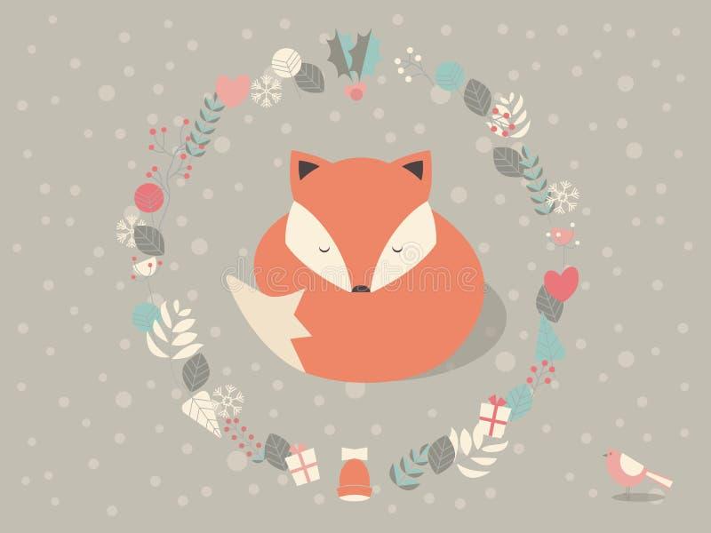 Netter schläfriger Weihnachtsfuchs umgeben mit Blumendekoration vektor abbildung