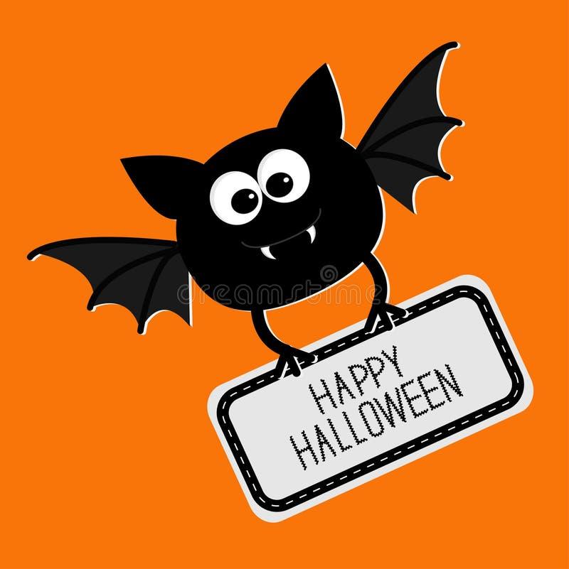 Netter Schläger mit Platte glücklicher Halloween-Karte Flaches Design vektor abbildung
