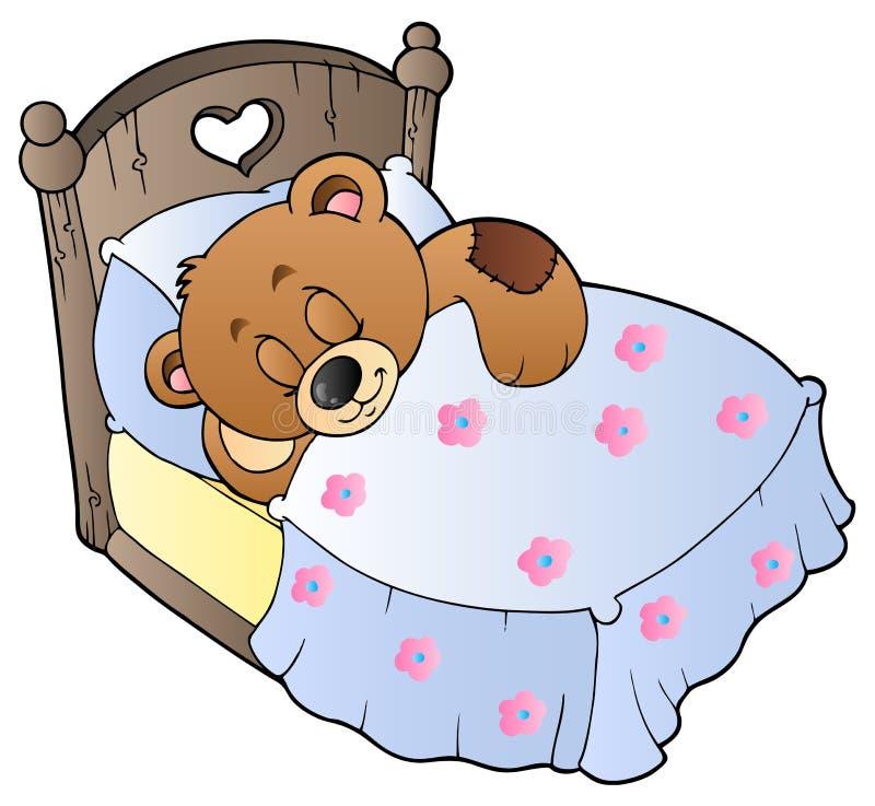 Netter schlafender Teddybär lizenzfreie abbildung