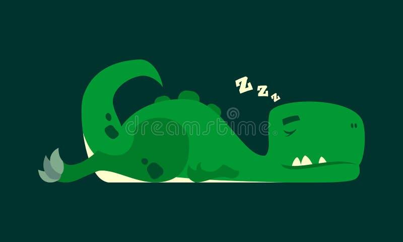 Netter Schlafendinosaurier Dino-rex Zeichentrickfilm-Figur stock abbildung