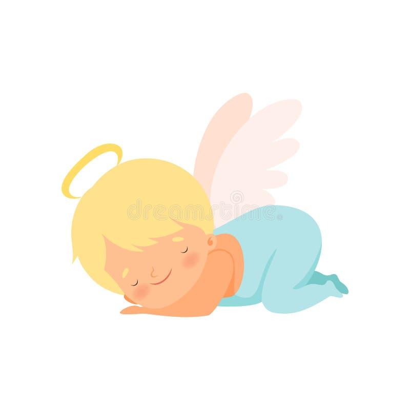 Netter Schlafenjungen-Engel mit Nimbus und Flügel, reizende Baby-Zeichentrickfilm-Figur im Amor oder Engel-Kostüm-Vektor vektor abbildung
