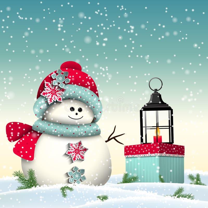 Netter Schneemann mit buntem Geschenk und Weinlese stock abbildung