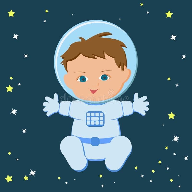Netter sitzender Babyastronaut in einem spacecuit und in einem Sturzhelm vektor abbildung