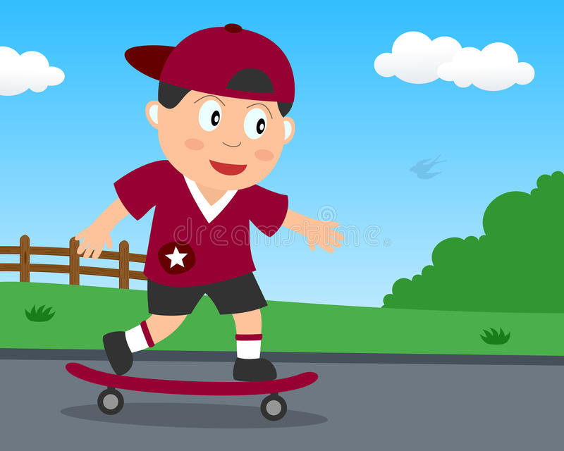 Netter Skateboardfahrer-Junge, der im Park spielt lizenzfreie abbildung