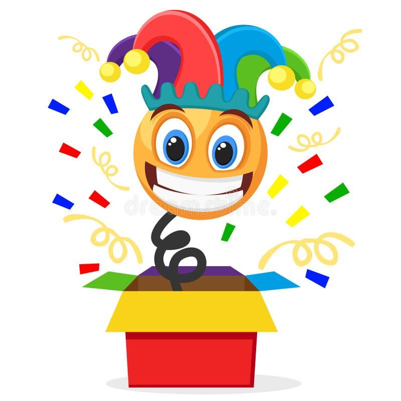 Netter smiley in einem Clownhut herausgesprungen vom Kasten auf einem weißen Tag April Fools s stock abbildung