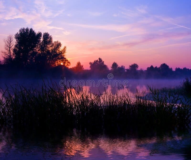 Netter Sonnenuntergang auf Fluss stockbild