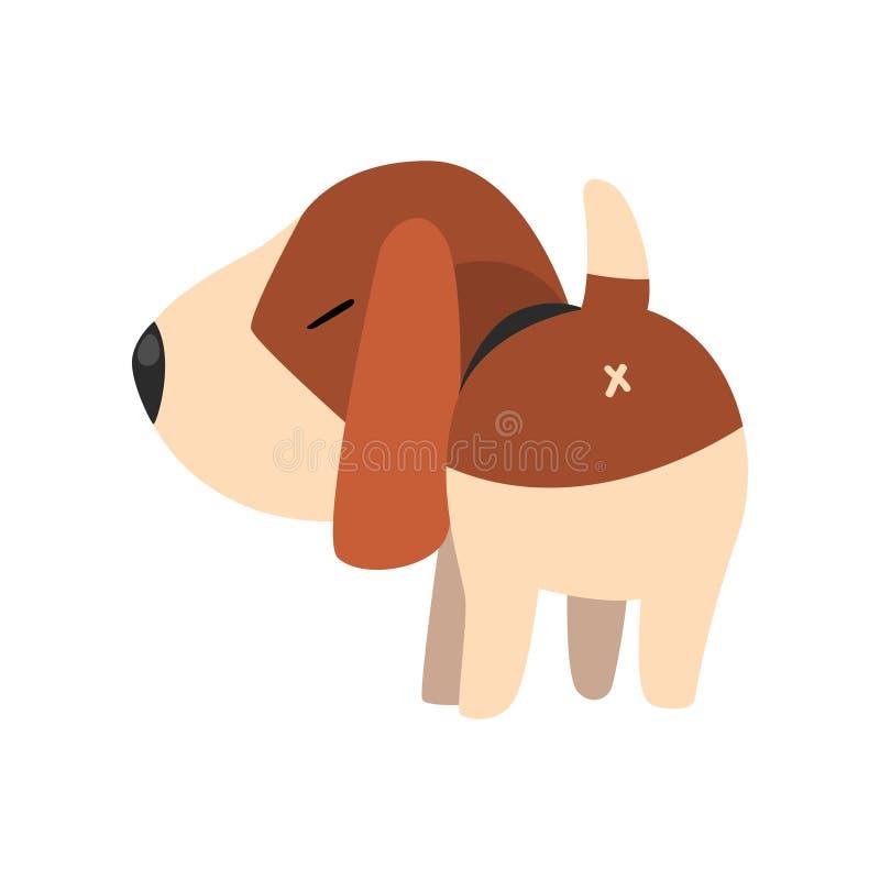 Netter Spürhundhund, hintere Ansicht, nette lustige Tierzeichentrickfilm-figur-Vektor Illustration auf einem weißen Hintergrund lizenzfreie abbildung