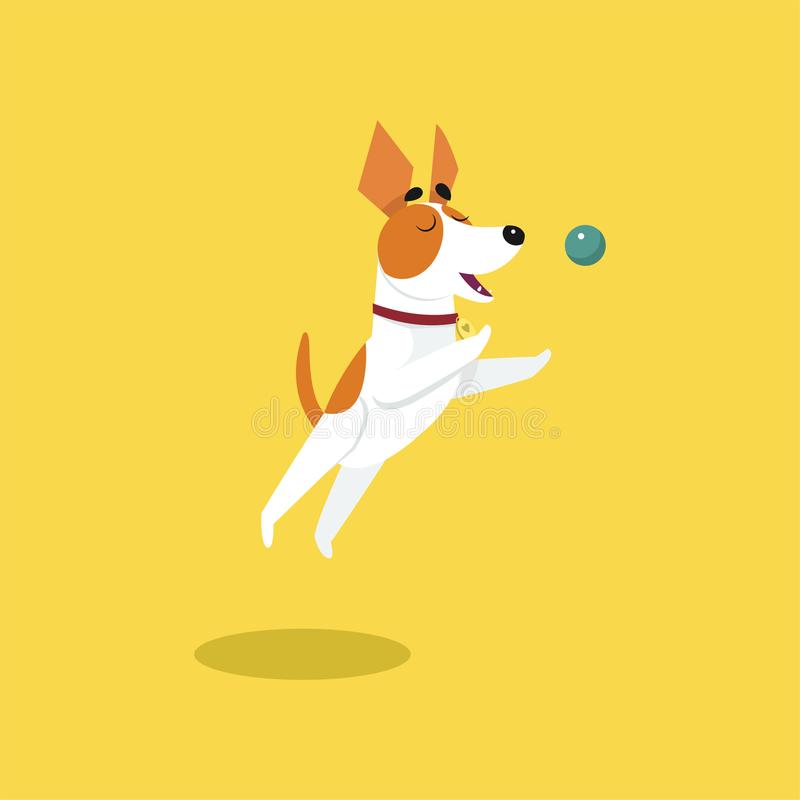 Netter Steckfassungsrussell-Terrier, der mit Ball, lustige Haustiertier-Charakterkarikatur-Vektor Illustration spielt stock abbildung