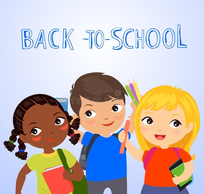 Netter Student drei, zurück zu Schule lizenzfreie abbildung