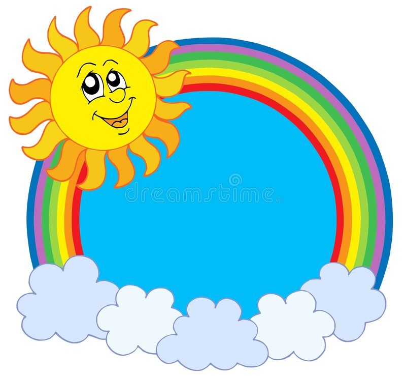 Netter Sun und Regenbogen lizenzfreie abbildung