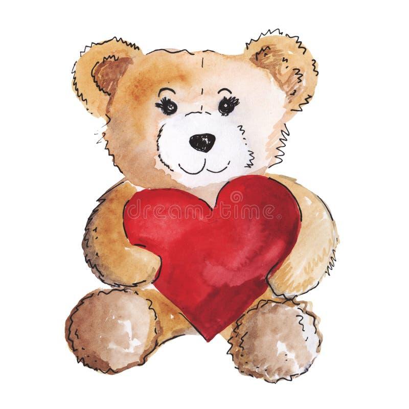 Netter Teddy Bear in der Liebe mit großem rotem Herzen lizenzfreie abbildung