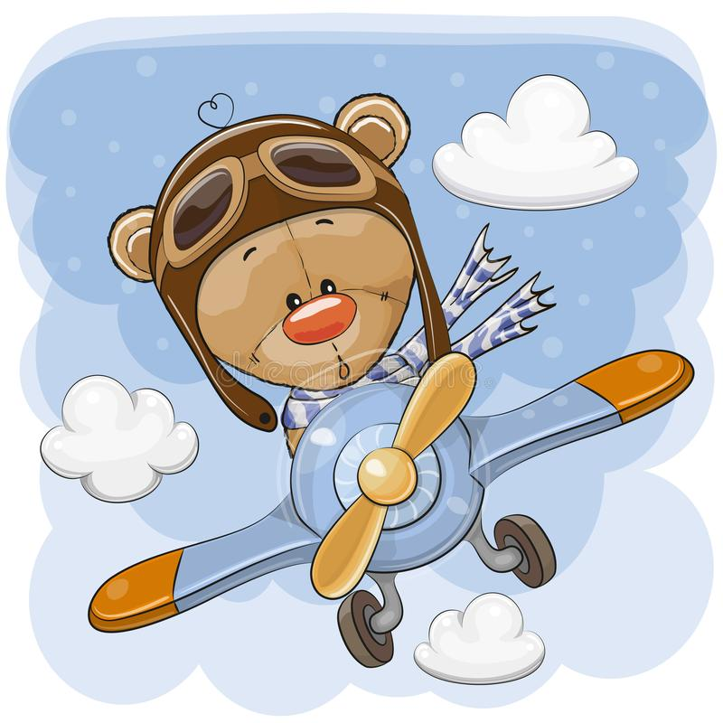 Netter Teddy Bear fliegt auf ein Flugzeug stock abbildung