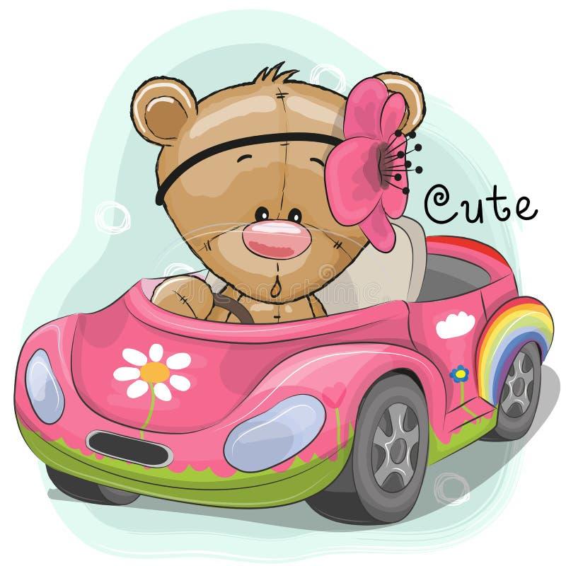 Netter Teddy Girl geht auf das Auto lizenzfreie abbildung