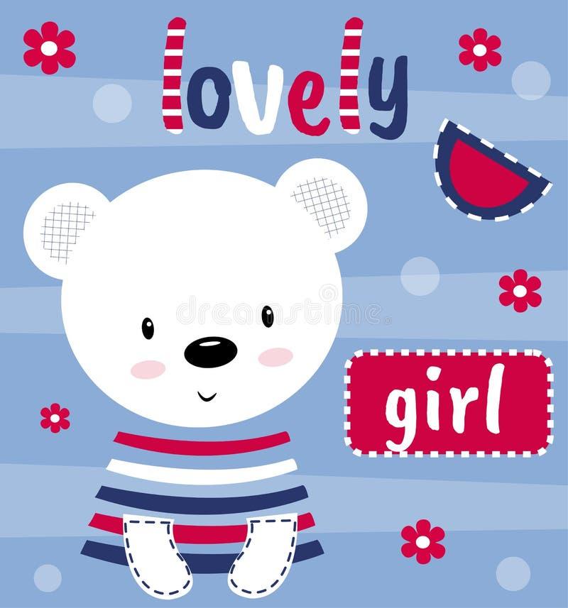 Netter Teddybär betreffen eine Postkarte mit dem reizenden Mädchen der Aufschrift Auch im corel abgehobenen Betrag Milch flie?t i lizenzfreie abbildung