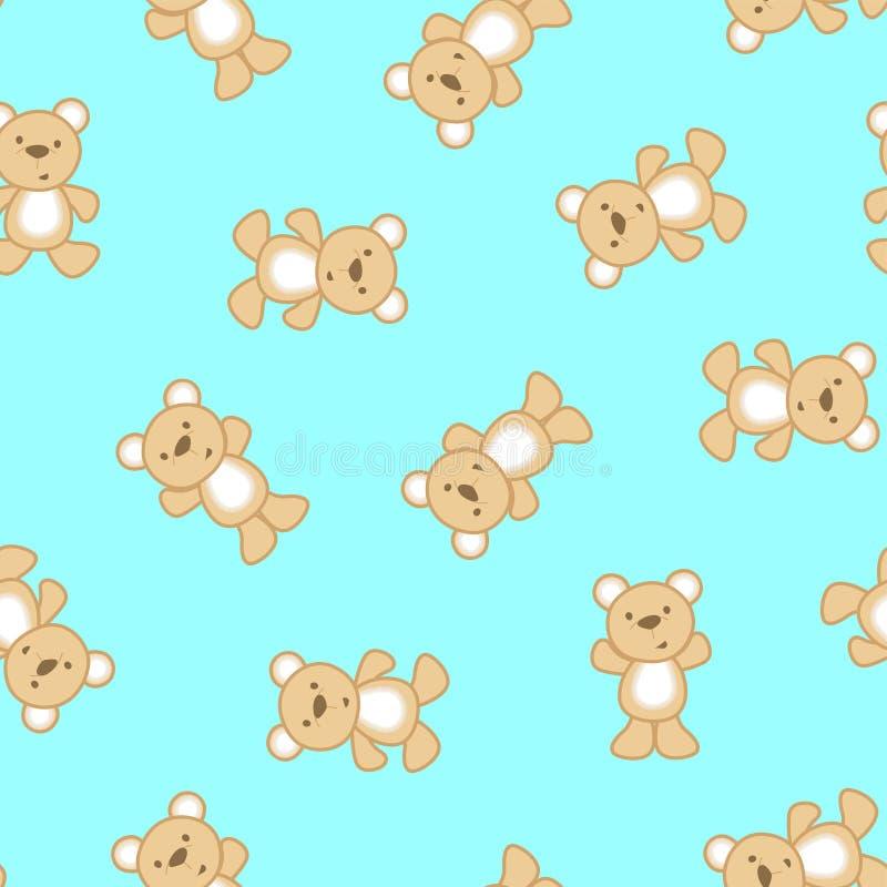 Netter Teddybär in einem nahtlosen Muster stock abbildung