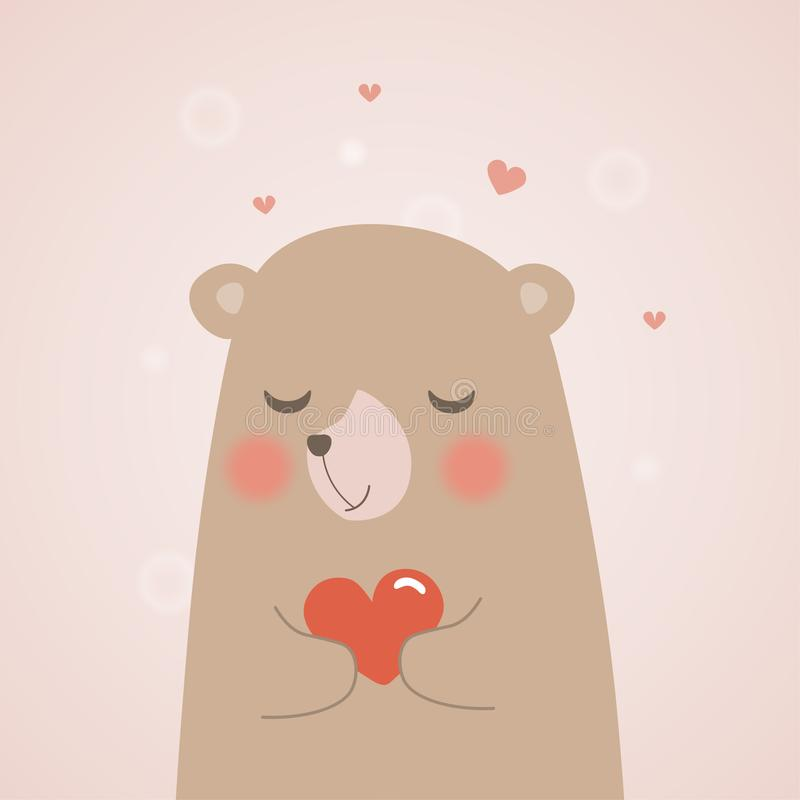 Netter Teddybär hält ein Herz und eine Umarmung mit Liebe auf Miniherzen Hintergrund, Vektorkarikaturillustration stock abbildung