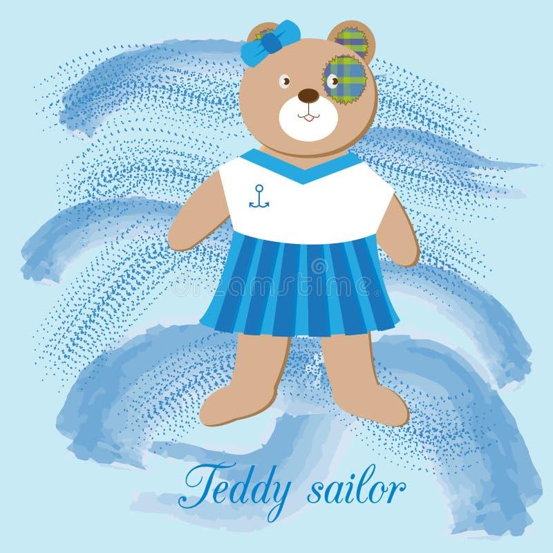 Netter Teddybär - Mädchenseemann, auf dem Hintergrund der Meereswellen lizenzfreie abbildung