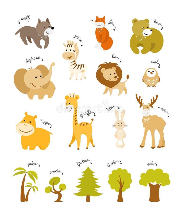 Netter Tier-Vektor-Satz Waldtiere und afrikanische Tiere mit Bäumen vektor abbildung